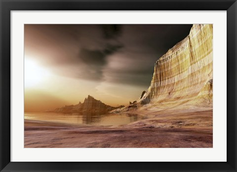 Framed sun shines down upon a lake near the mountains Print