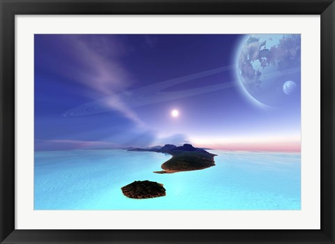 Framed Beautiful cosmic seascape on an alien world Print