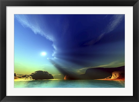 Framed Rays from the sun shine down on this colorful seascape Print