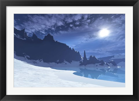 Framed cold winter night on this beach has a full moon Print