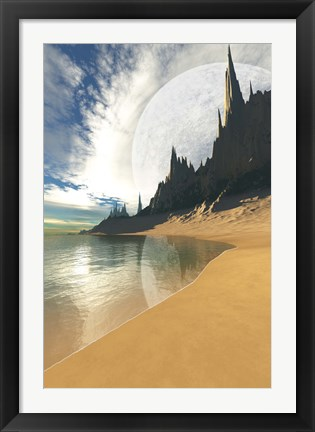 Framed nearby planet hovers in the sky of this cosmic planet Print