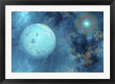 Framed planet forms from surrounding gases and clouds Print