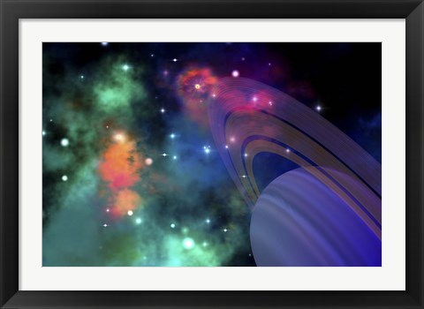 Framed Colorful nebula near a ringed planet Print