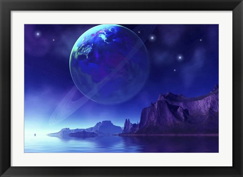 Framed Cosmic seascape on another world with a ringed planet in the night sky Print