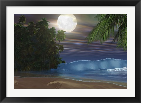 Framed Moonlight shines down on the beach during the night of a full moon Print