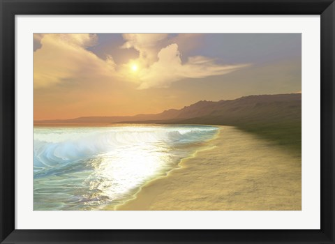 Framed Sunset on a quiet peaceful beach with gorgeous water Print