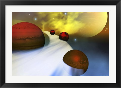 Framed planet Jupiter with its moon system Print