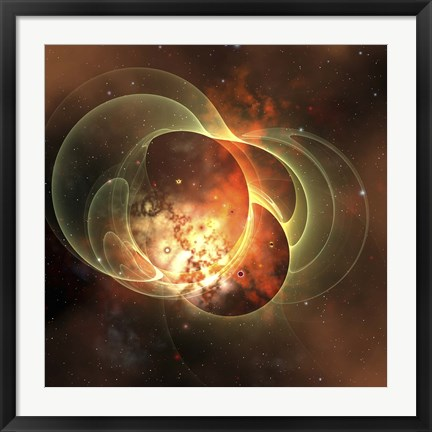 Framed constellation sits inside encircling gaseous rings in space Print