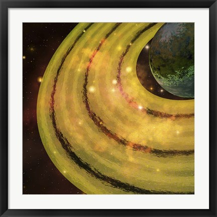 Framed golden ring system encircles this planet out in the galaxy Print