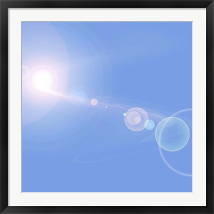 Framed Abstract cosmic image of suns and planets Print