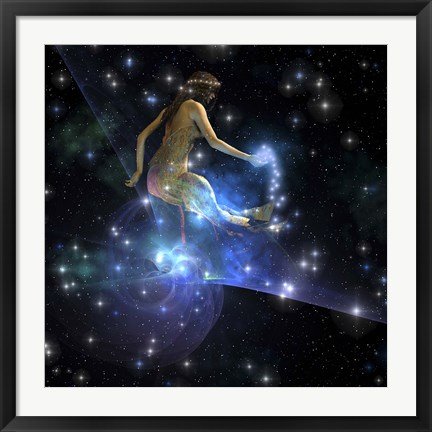 Framed Celesta, spirit creature of the universe, spreads stars throughout the cosmos Print