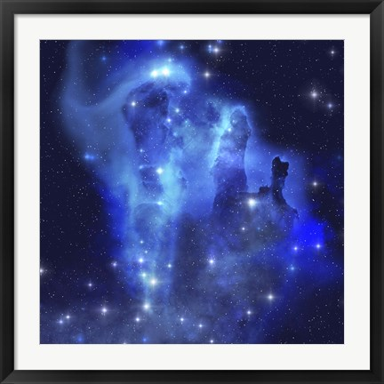 Framed brilliant blues of this star making nebula shine throughout the cosmos Print