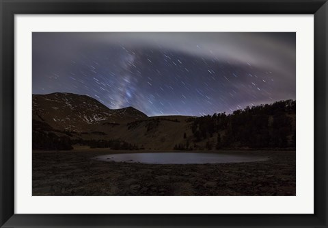 Framed Star trails and the blurred band of the Milky Way above a lake in the Eastern Sierra Nevada Print