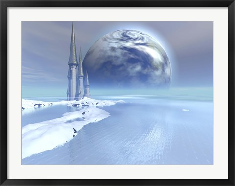 Framed castle sits near the ocean on this beautiful world Print