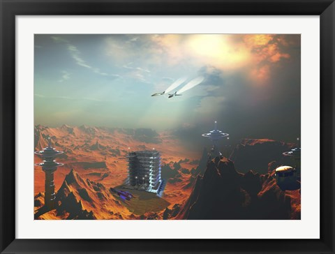 Framed Two aircraft fly over an enemy base of operations Print