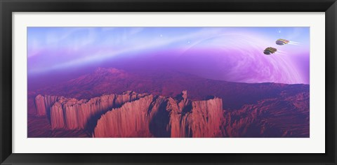 Framed Two spacecraft fly over a mountain range Print
