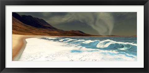 Framed White surf comes into shore from a waterspout Print