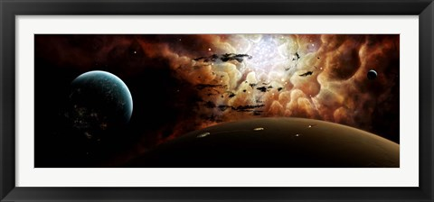 Framed view from a busy planetary system to a nearby stellar nursery Print
