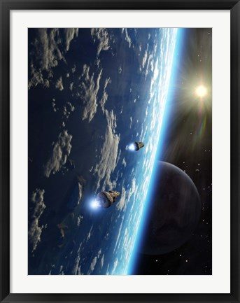 Framed Two survey craft orbit a terrestrial type planet Print