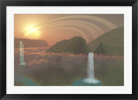 Framed Lush tropical jungle, river systems and waterfalls on an alien planet Print