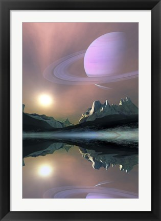 Framed planet Saturn lights up the sky of one of its moons called Titan Print
