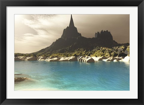 Framed mountain spire overlooking the turquoise waters of a sea inlet Print