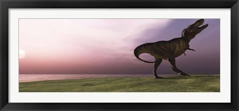 Framed Tyrannosaurus Rex dinosaur roars his defiance on an oceanside bluff Print