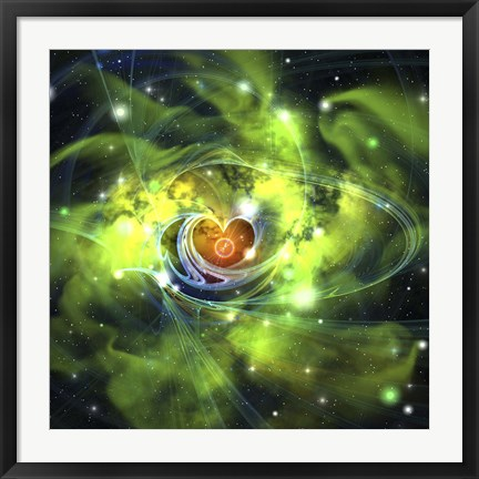 Framed unusual nebula in the cosmos has a heart at its center Print