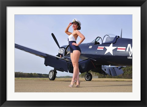 Framed 1940's Navy pin-up girl posing with a vintage Corsair aircraft Print