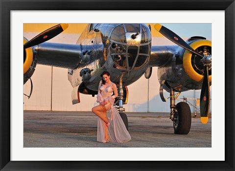 Framed Sexy 1940's pin-up girl in lingerie posing with a B-25 bomber Print