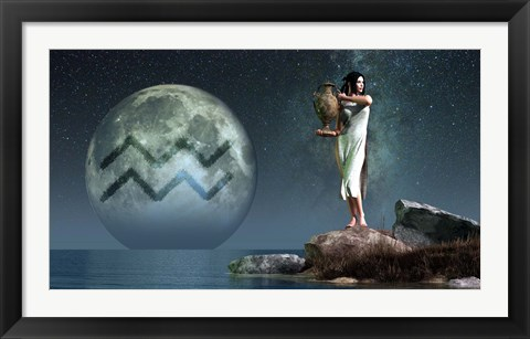 Framed Aquarius is the eleventh astrological sign of the Zodiac Print