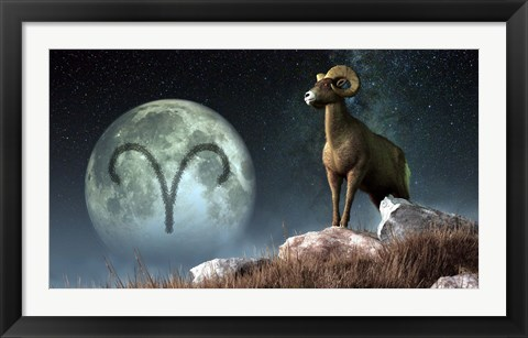 Framed Aries is the first astrological sign of the Zodiac Print