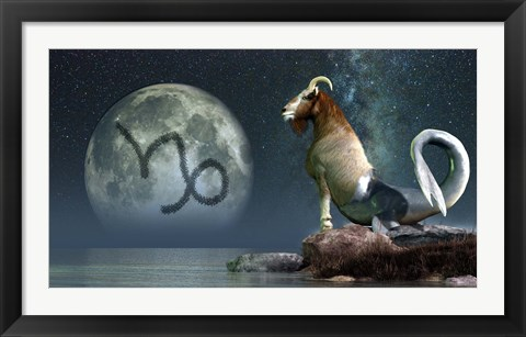 Framed Capricorn is the tenth astrological sign of the Zodiac Print