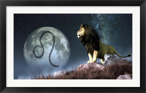 Framed Leo is the fifth astrological sign of the Zodiac Print