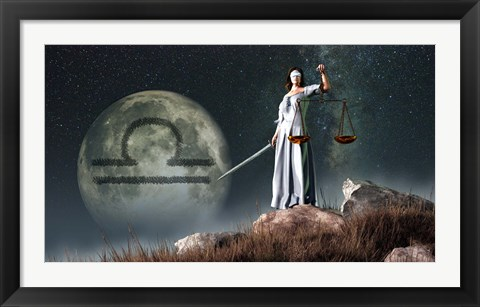 Framed Libra is the seventh astrological sign of the Zodiac Print