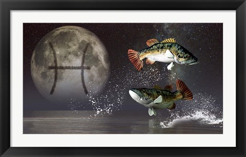 Framed Pisces is the twelfth astrological sign of the Zodiac Print