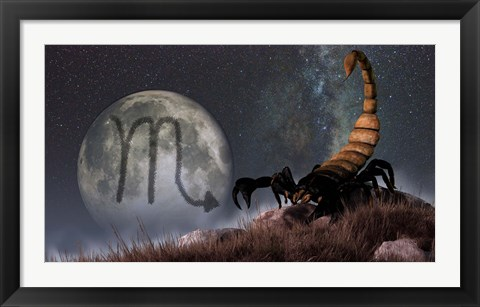 Framed Scorpio is the eighth astrological sign of the Zodiac Print