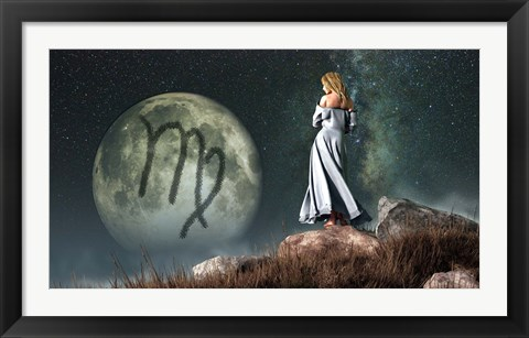 Framed Virgo is the sixth astrological sign of the Zodiac Print