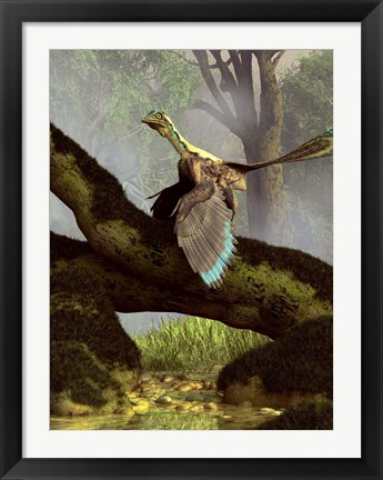 Framed Archaeopteryx on a log above a stream Print