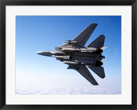 Framed F-14A Tomcat with missile armament Print
