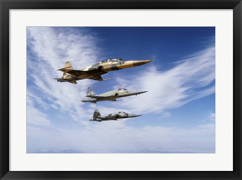 Framed F-5F Tiger II leads two F-5E's during a training flight Print