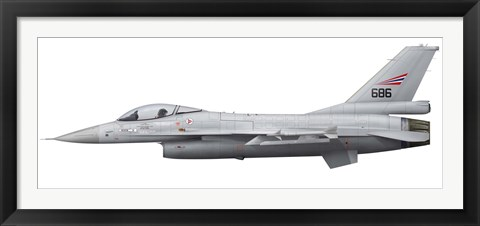 Framed General Dynamics F-16A Fighting Falcon of the Royal Norwegian Air Force Print