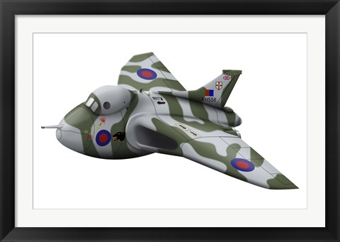 Framed Cartoon illustration of a Royal Air Force Vulcan bomber Print