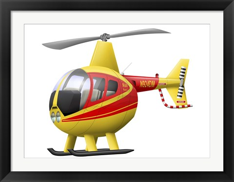 Framed Cartoon illustration of a Robinson R44 Raven helicopter Print