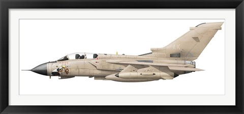 Framed Illustration of a Panavia Tornado GR1 with Gulf War markings Print