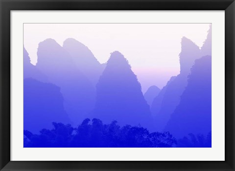 Framed Karst formations along the Yulong River, China Print