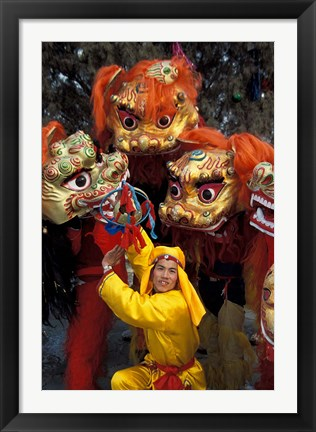 Framed Lion Dance Celebrating Chinese New Year, Beijing, China Print