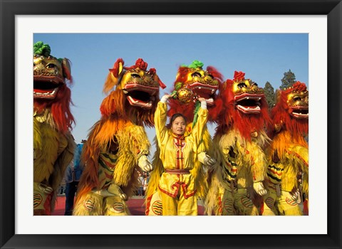 Framed Lion dance performance celebrating Chinese New Year Beijing China - MR Print