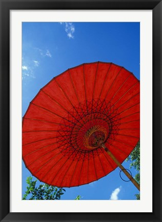 Framed Red Umbrella With Blue Sky, Myanmar Print