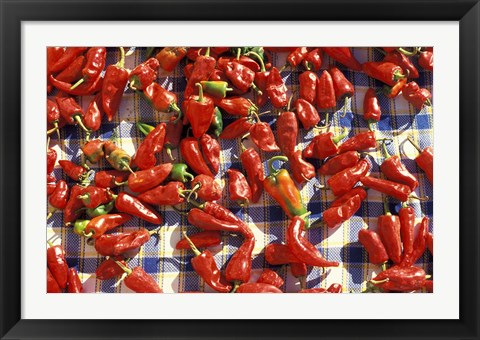 Framed Red Peppers Drying in the Sun, Tunisia Print